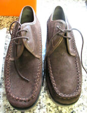 MEN'S CASUAL SHOES BROWN DECK SHOE  LACE-UP SUEDE & LEATHER UPPER