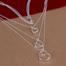 wholesale Sterling solid silver fashion jewelry Chain 3heart Necklace XLSN038