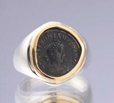 Ancient Roman Bronze Coin in Sterling Silver & 14kt Gold Ladies Ring size 8