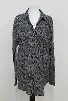 REISS Ladies Black White Fine Leopard Print Long Sleeve Blouse Button Shirt UK8