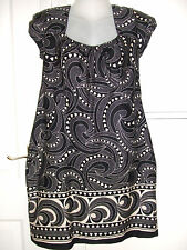 Lovely ladies black/cream patterned tunic top by New Look size 14 VGC
