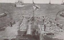 POSTCARD   SHIPS    Physical  and  Rifle  Drill  on a Warship at Sea