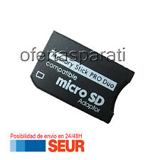 ADAPTADOR MICRO SD  SDHC A MEMORY STICK PRO DUO PSP O SIMILAR. COLOR NEGRO