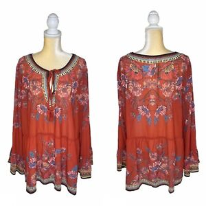 Flying Tomato Boho Floral Blouse Size 2X Tie Front Sheer Red