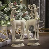 Festive Christmas Pair Of Reindeer Ornaments With LED Lights Xmas Decoration