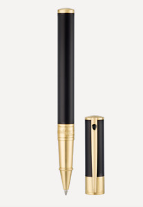 NEW ST Dupont D Initial Black & Gold Roller Ball Pen 262202