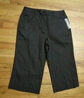 WOMEN'S DARK BROWN PINSTRIPE CROPPED DRESS PANTS - LARRY LEVINE - SIZE 8P - NWT
