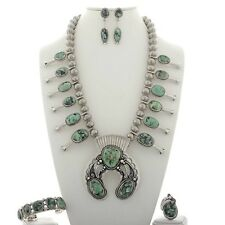Squash Blossom Damele Turquoise Necklace Set By Tom Ahasteen