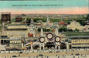 Coney Island Postcard Bird's-Eye View Of Luna Park