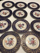 11Antique K&A Krautheim Selb Bavaria Blue ,Gold With Flowers- Excellent Cond