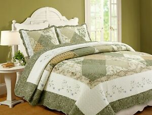 Laura Green Real  Patchwork Reversible 100%Cotton Quilt Set, Bedspread, Coverlet