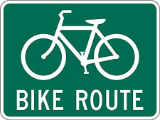 Framed Print - Bike Route Street Sign in Green & White (Picture Poster Bicycle)