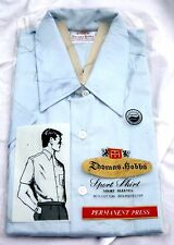 Vintage New Old Stock Thomas Hobbs Sky Blue Short Sleeve Button Up Size Large