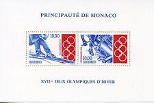 TIMBRE DE MONACO BLOC N° 63 ** SPORT JEUX OLYMPIQUES D'HIVER LILLEHAMMER