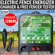 NEW 120km Electric Fence Energiser Energizer Charger 5J 240V & FREE Fence Tester