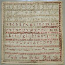 1831 ANTIQUE ENGLISH RED ALPHABET |SAMPLER SARAH ANN PARKIN HULL