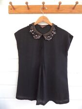 "RANNA GILL ""Silk Feel"" Sleeveless Evening Top Jewel Embellished Collar Black-XS"