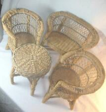 """Vintage 4 Piece Set Rattan Wicker Woven Doll Furniture 1940's Fits 12-15"""" Doll"""