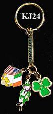 Brass Key Ring Irish Charms (Dancing Leprechaun, Shamrock, Cross Flags)