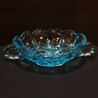 VTG TURQUOISE BLUE GLASS CANDY DISH THUMBPRINT SIDES STAR IN BOTTOM 2 HANDLES