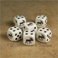NEW Set of 6 Brown Moose Dice Six Sided Animal Game RPG D6 Koplow 16mm 5/8 inch