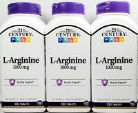 21st Century L-Arginine 1000 mg 100 ct Tablets- 3 Pack -Exp Date 06-2022