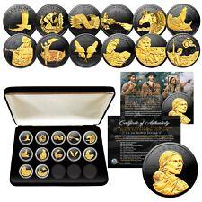 SACAGAWEA DOLLAR 12-Coin SET - BLACK RUTHENIUM w/ 24K Gold Highlights * MUST SEE
