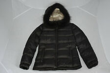 Prada Dark Brown Black Down Quilted Jacket Coat Fur Hood Womens Size IT38 UK 6/8