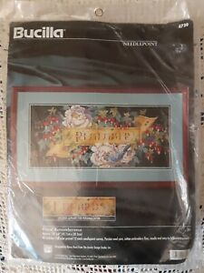 New Personalized Name Bucilla Floral Remembrance Needlepoint Kit Banner Flowers