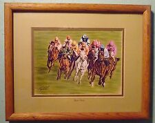 "George A. Johns Horse Racing Lithograph ""First Turn"" NMC-Artist from Carlsbad"