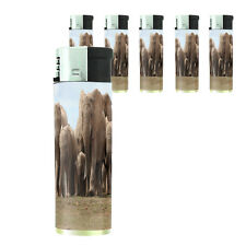 Butane Refillable Electronic Lighter Set of 5 Elephant Design-003 Custom Animals