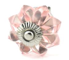 6 pc Pink Glass Vintage Cabinet Knobs Kitchen Drawer Hardware Handles IK64NRB
