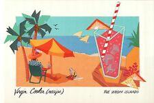 "Virgin Cooler Drink Recipe, US Virgin Islands Caribbean - Jumbo 9"" x 6"" Postcard"