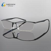 Aluminum magnesium Alloy Men's Half Rim Eyeglass Frame Spring Hinged Glasses