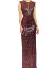NEW Nicole Miller Red Sequined Illusion-In Set Gown SZ 8 $298