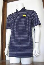 M Men Pro Edge Michigan Wolverines Short Sleeve Polo Shirt Navy Blue Stripe NWT