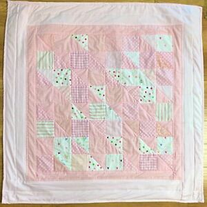 "Handmade Baby Girl's Quilt X-Large 42"" x 42"" Pink Patchwork Crib Nursery New"