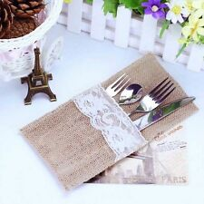 10x Wedding Decor Hessian Burlap Lace Fork Spoon Cutlery Storage Bag Holders New