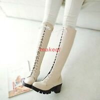 Women Round Toe Chunky Heel Side Zipper Lace Up Knee High Boots Shoes US Size