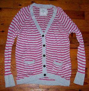 Women's Juniors H&M Gray & Pink Linen Cotton Stripe Cardigan Sweater Size Small