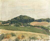 Weite Sommerlandschaft Blick über Felder Christiansen 1929 40 x 48 cm