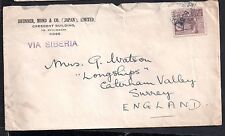 Japan  Postal History 1937 20sn Commercial cover Via Serbia to UK CH23