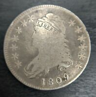 1809 Capped Bust Half Dollar O-110 R4+ 50c XXX Edge Cracked Die VG Very Good