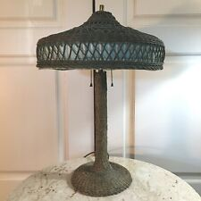 ANTIQUE HEYWOOD WAKEFIELD ARTS CRAFTS WICKER VINTAGE VICTORIAN FOLK ART LAMP 24