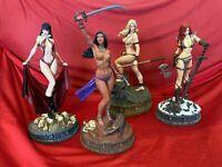 Women of Dynamite 4 Statue Set - Red Sonja Vampirella Jungle Girl Dejah Thoris
