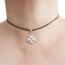 Four Leaf Clover Charm Pendant Choker Necklace with Black Cord