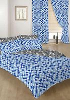 Blue & Grey Pixels Double Bed Size Duvet Cover Set & 2 Pillowcases Children's