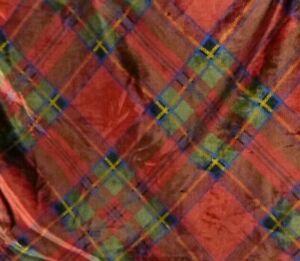 Vtg Ralph Lauren Destry Tartan VELVET King Size Pillowcase Sham #2