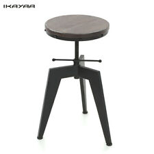 Industrial Bar Stool Wood Top Swivel Kitchen Pub Chair Height Adjustable US I2M5