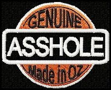 """GENUINE ASSHOLE .... made in OZ""  BIKER PATCH"